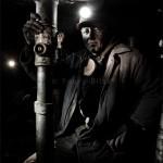 Portrait de mineur de charbon ukrainien au fond d'une mine dans la région de Donetsk. Photo Youry Bilak.