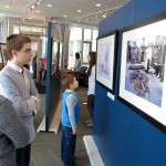 "Children visiting the Youry Bilak's exhibition ""Hutsuls, in the shadow of Carpathians"" in Ottawa on March 2014"