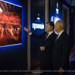 President of Ukraine Petro Poroshenko (R), Vice President of USA Joe Biden (C) and Head of the Presidential Administration of Ukraine Borys Lozhkin (L) at the Youry BIlak's exhibition Projectio on December 7, 2015